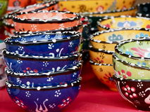 Small Colourful Ceramic Bowls On Display Stock Images