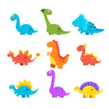 Small Colourful Dinosaur Set. Cute Vector Collection Royalty Free Stock Photo