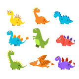 Small Colourful Dinosaur Set. Vector Collection Stock Photo