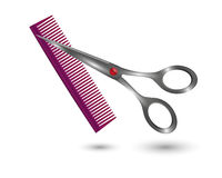 Small comb and scissors Stock Images