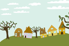 Small Community On The Hill royalty free illustration