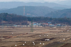 Small community in Korea after the fall harvest Stock Images