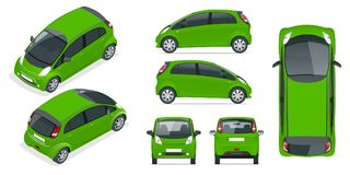Small Compact Electric vehicle or hybrid car. Eco-friendly hi-tech auto. Easy color change. Template vector isolated on Royalty Free Stock Image