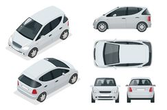 Small Compact Electric vehicle or hybrid car. Eco-friendly hi-tech auto.   Stock Photos