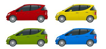 Small Compact Electric vehicle or hybrid cars. Eco-friendly hi-tech auto.   Stock Photo