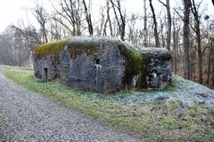 Small concrete military bunker . World War II. Slovak Republic Royalty Free Stock Images