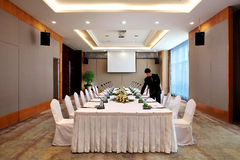 Small conference room. Team,cooperation,Commercial activity, The meeting,discuss,Decision making, To meet with,The carpet,Conference service Stock Photography