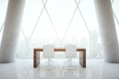 Small conference table in room. Small wooden conference table in abstract office room interior with concrete columns and patterned withdow with city view. 3D Royalty Free Stock Image