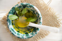 Small container with extra virgin olive oil Royalty Free Stock Photo