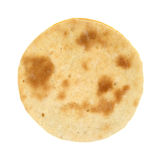 Small cooked pizza crust. A small cooked pizza crust on a white background stock image