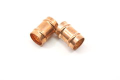 Small Copper Pipe Fittings Royalty Free Stock Photography