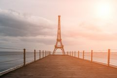 Free Small Copy Of Famous Eiffel Tower On End Of Pier In Yalta, Crimea At Sunset, Copy Space Royalty Free Stock Images - 143100229
