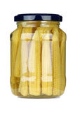 Small corn ears conserved in glass jar Stock Images