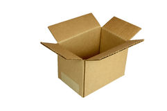 Small Corrugated Shipping Carton. An open, small shipping carton, isolated on white background Stock Images