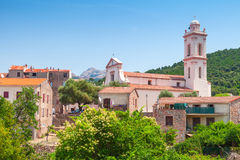 Small Corsican town landscape, Piana in summer Stock Photos