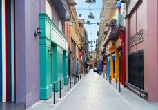 Street of Athens, Greece. Small cosy street with antique shops in Athens, Greece Royalty Free Stock Photography