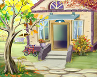 Small Cottage in Early Autumn. Digital Painting Background, Illustration in cartoon style character stock illustration