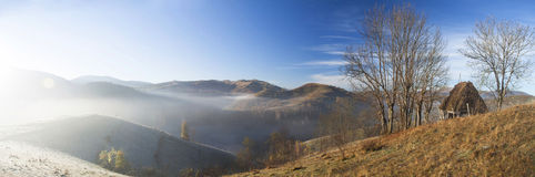 Small cottage in the mountains-panoramic view Royalty Free Stock Images