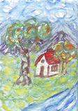 Small cottage near a river painting Stock Photo