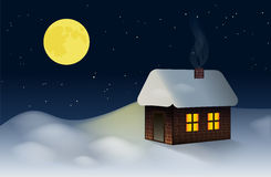 A small cottage on the snowy New Year's Eve Stock Photos