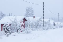 Small cottages covered in snow Royalty Free Stock Photography