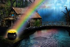 Pot of gold at the end of the rainbow by a country cottage. Small country cottage by a lake. Pot of gold at the end of the rainbow royalty free stock photography