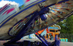 Fair ride in Westville. Whirling roundup ride spinning by Royalty Free Stock Images