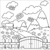 Small country house, meadow and wooden fence. Coloring book page. Landscape with a country house in a meadow with flowers, a wooden fence with a gate, mountains stock illustration