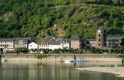 Small country with a large column in the Rhine Valley in Germany Royalty Free Stock Images