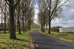 Small country roads in the Zuidplaspolder in Moordrecht in the Netherlands in the lowest area in western Europe. / stock images