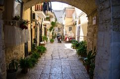 Small courtyard in Bari city, Puglia Apulia region, Southern Ita royalty free stock images