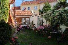 Small courtyard of family house in centre of České Budějovice, South Bohemia. Czech republic stock photos