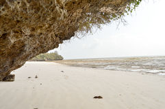 Small cove on the beach of Bamburi Royalty Free Stock Image