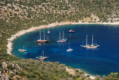 Small cove with boats. Turquoise Coast in Turkey near Kalkan royalty free stock image
