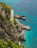 Small cove and turquoise sea on Amalfi coast in Italy Royalty Free Stock Image