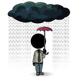 Small coverage. Cartoon action icon of a man standing in the rain with a small umbrella Stock Image