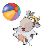 Small cow and ball Cartoon Royalty Free Stock Photo