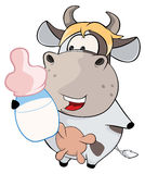 A small cow. Cartoon Royalty Free Stock Images