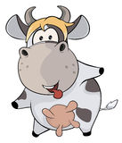 A small cow. Cartoon Royalty Free Stock Photography