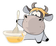 A small cow. Cartoon Stock Image