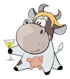 A small cow and champagne cartoon Royalty Free Stock Photo