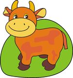 Small cow on a green grass. The vector image of a smiling small cow on a green grass - an animated cartoon, the fantastic character Royalty Free Stock Images