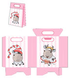 A small cow. Handbag packages pattern Stock Image