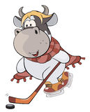 A small cow. A hockey player. Cartoon Royalty Free Stock Photos