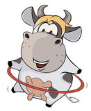 A small cow and a hula hoop. Cartoon Royalty Free Stock Photo