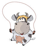 A small cow and a jump rope. Cartoon Royalty Free Stock Photography