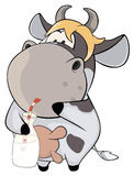 A small cow with a milk bottle. Cartoon Royalty Free Stock Image
