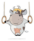 A small cow performing an Iron Cross Cartoon Stock Photography