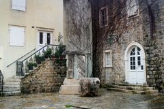 A small cozy courtyard in the old town of Budva. Montenegro royalty free stock photography