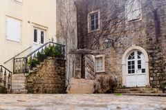 A small cozy courtyard in the old town of Budva. Montenegro stock photo